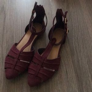 Suede like ankle strap flat
